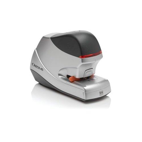 Rexel Optima 45 2104454EU - Grapadora eléctrica, capacidad para 45 hojas, 24 x 15 x 9.5 cm, color plateado y negro