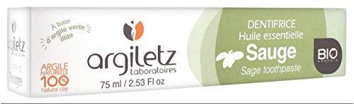 Argiletz Dentifrice à l'argile verte et à la Sauge bio 75ml