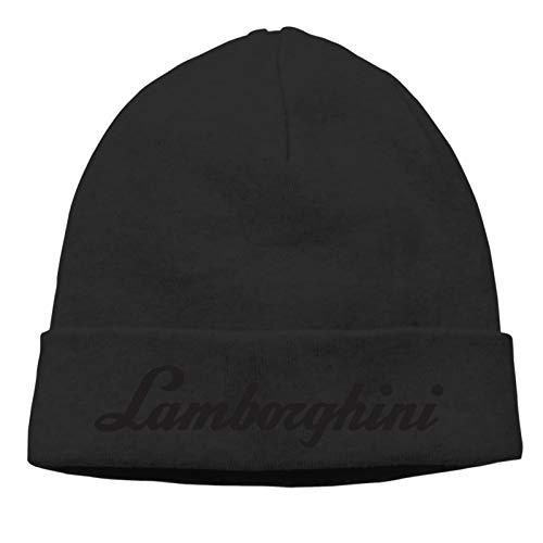 Shanghao La-Mborghi-Ni Text Logo Beanie Cap Strickmütze Warme Winter Heckenkappe Schwarz Dünn Abschnitt