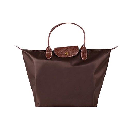 Fletion Nylon Wasserdichte Damen Handtasche Schulterhandtaschen Schulter Faltbare Einkaufstüten Reisetasche, Kaffee, M:44cm*30cm*18cm