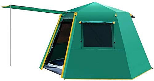 LAZ Tents Automatic Camping Tent 4-6 People Double Layer Thickened Rain-Proof Aluminium Rod Family Camping Tent Sun Shelter (Color : Green, Size : 330 cm)