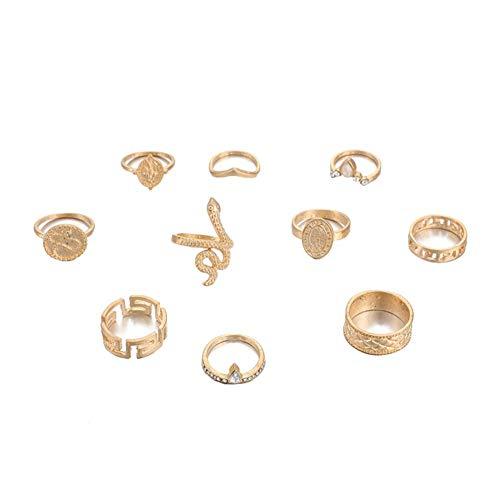 BIGBOBA 10pcs Damen Ring kreative Schlange Ring Hochzeit Geburtstagsgeschenk Paar Zubehör, Gold