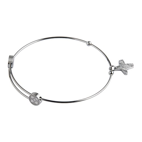 Ernstes Design Bangles Armreif für Damen mit Kreuz Edelstahl Ø 5,8-6,2 cm A203