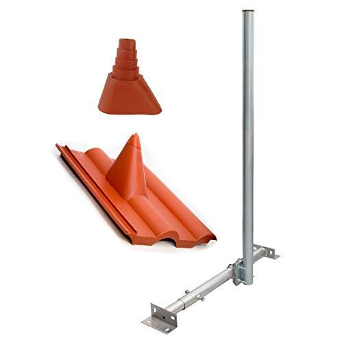 PremiumX Basic X120-48 SAT TV Dachsparrenhalter 120cm Mast 48mm Kabeldurchführung Sparrenhalterung für Satellitenschüssel Satelliten-Antenne | Dachabdeckung Frankfurter-Pfanne Tülle rot