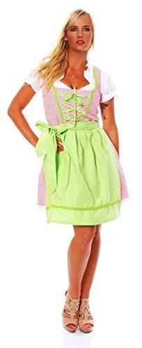 Fashion4Young 10590 Damen Dirndl 3 TLG.Trachtenkleid Kleid Mini Bluse Schürze Trachten Oktoberfest (36, Rosa Weiß)