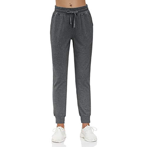 HMIYA Damen Jogginghose Baumwolle Sporthose Yogahose Trainingshose Freizeithose mit Taschen - Super Weich und Bequem (Dunkelgrau S)