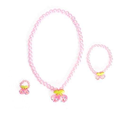 Toyvian Mädchen Prinzessin Schmuck Kirsche Anhänger Halskette Armband für kleine Mädchen Spielen, 3 Stück