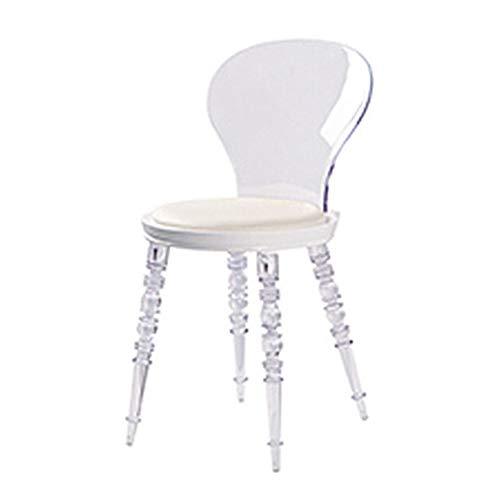Genomskinlig pall hushåll ryggstöd kristallstol ljus matstol spöke stol sminkstol, C