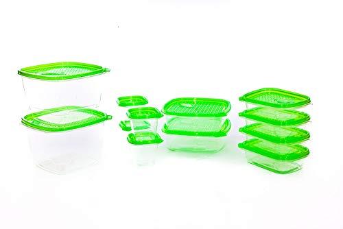Juego de 12 recipientes de alimentos frescos sin BPA con tapa de ventilación