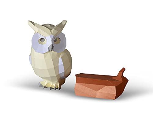 Escultura de Papel de búho,Kit de Papel precortado,Figuras de Animales Hechas a Mano,Color Beige,Decoración de bajo poliéster para el hogar,Todos los Accesorios incluidos