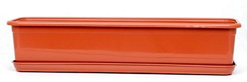 POKM Toolsmarket GmbH Balkonkasten Blumenkasten mit Untersetzer Venus 70 cm Terracotta