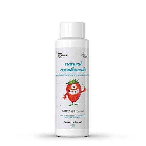 Humble Natural Mouthwash, natürliche Mundspülung für Kinder Erdbeere, Mit Flourid, Vegan für die tägliche Mundpflege, von Zahnärzten anerkannt, 500ml