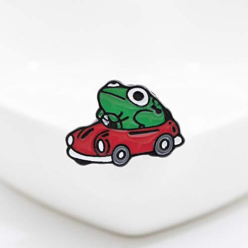 XKMY Broche de esmalte para mujer con diseño de rana para coche, color rojo, pequeño, mochila, solapa, divertido, regalo para amigos y niños (color metálico: 1 unidad)