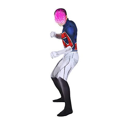 NVHAIM Traje elstico del capitn britnico 3D Disfraz de Cosplay para nios Adultos Conjunto de Mono Ajustado de una Pieza Todo Incluido Disfraz de Mono Ajustado,Men M