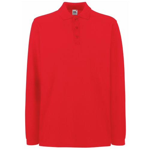 Fruit Of The Loom, Polo Manica Lunga, Uomo, Rosso, XX-Large
