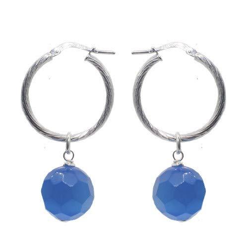 Aros de plata de ley 0925 diamantada con turmalinas azules facetadas.