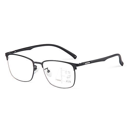 CAOXN Gafas De Lectura con Bloqueo De Luz Azul Montura De Aleación para Hombres Lector De Lentes De Resina HD Multifocal Progresivo Dioptrías +1.0 A +3.0,Negro,+2.00