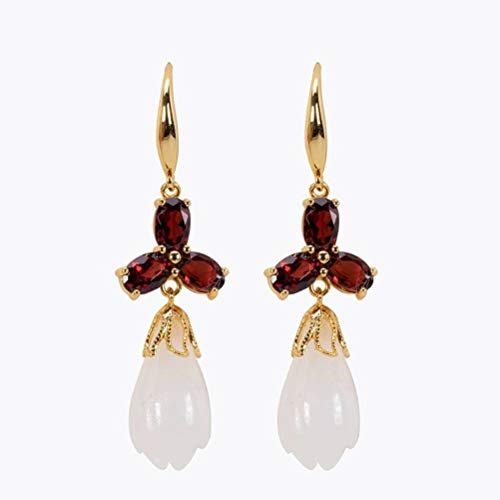 WOZUIMEI Chinese Style Earrings Eardrop S925 Sterling Silver Gold-Plated Inlaid Nephrite Magnolia Temperament Female Earrings As Shown
