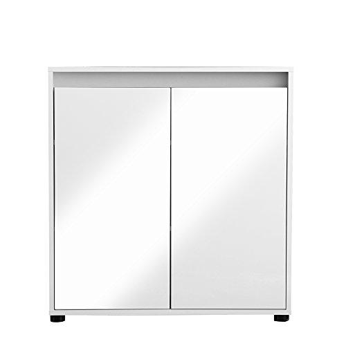 trendteam Kommode Sideboard Schrank Sol Color, 80 x 84 x 35 cm in Korpus Weiß, Front Weiß Glanz mit mehrfarbigen Wechselblenden in Weiß, Mintgrün, Altrosa, Grau, Stone und Alteiche