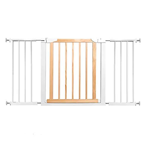 LWJJHJ 75cm hoog hek, kinderen veiligheidspoort deur, metalen en houten poort voor kinderen of huisdieren,3 paneel, (vanaf 131cm-138cm)