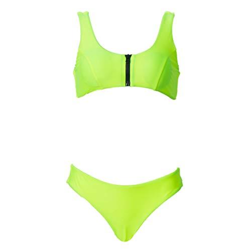 iNoDoZ Womens Leopard Print Bikini Push-Up Pad Swimwear Fashion Swimsuit Beachwear Set (S, Green/2)