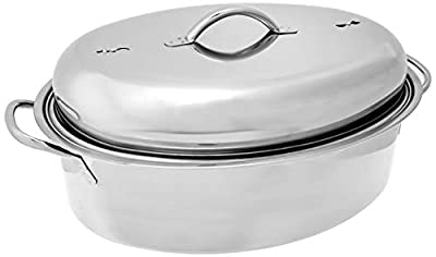Fox Run Oval Roaster Set, Stainless Steel, 10-Quart