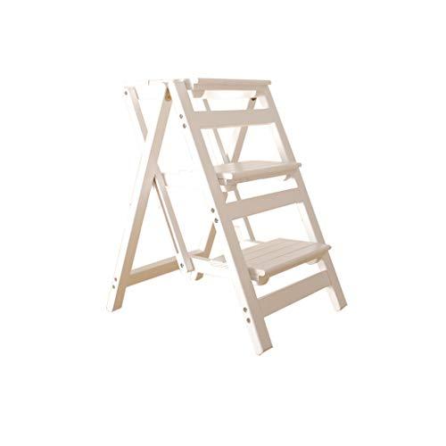 LRZLZY Holz Schritt Hocker, Klappsteigleiter, einseitig Haushalts 3-Stufen-Treppe, Anti-Rutsch (weiß) Stabilität und Sicherheit