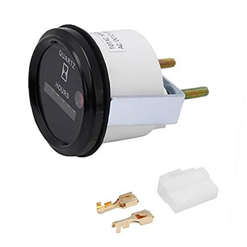 Naisicatar Medidor de Hora de Cuarzo SH748 12-36V Dígitos Procesador de Calibre Redondo preciso para los generadores de Tractores de Barco de Motor Negro