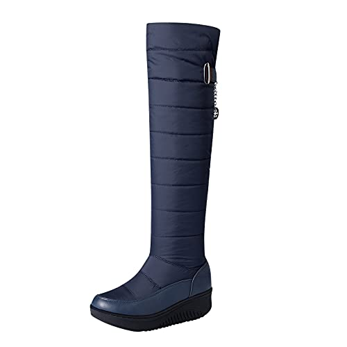 Fashion Winter Snow Boots for Women Casual Solid Plus Velvet Shoes Mid Heels Middle Tube Footwear Buckle Strap Shoes