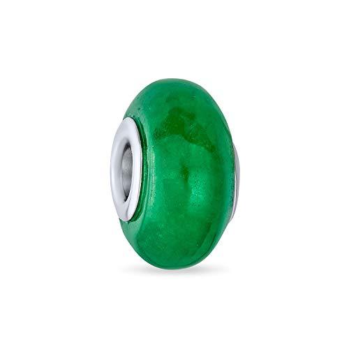 Teñido verde jade gemstone espaciador cuenta encanto cuenta para las mujeres 925 plata de ley se adapta a la pulsera europea
