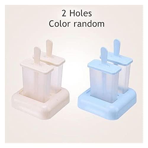 SONG Molde de Helado de plástico Reutilizable con Palo y Tapa de 4 Orificios con heladera con Hielo de 4 Orificios Tinas de Helado DIY Herramientas de Cocina Creativa (Color : 2 Holes Color Random)