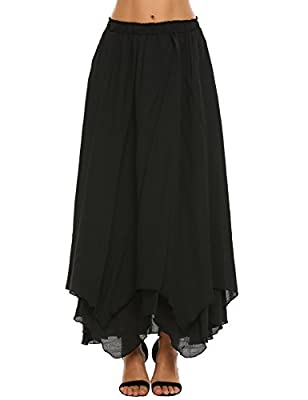 Chigant Women Elastic Waist Double Layer Irregular Hem Maxi Long Skirt