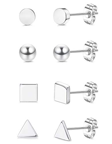 Sllaiss 4 Pairs 925 Sterling Silver Small Geometric Stud Earrings Set for Women Assorted Shapes Tiny Dot Ball Stud Earrings Square Triangle Earrings Set