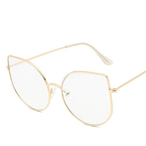 Boner Metalen cat eye platte spiegel damesmode bril met groot montuur, goud wit