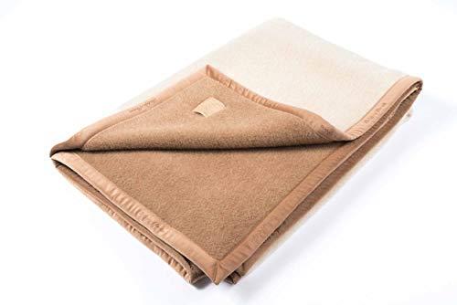 """Ritter Decken Alpaka Decke """"Suri Baby 150 x 220 cm Creme/Kamel (ungefärbt) aus 100% Alpaka (Natur) weich. Wolldecke aus eigener Herstellung. Geeignet als Wohndecke, Kuscheldecke und Tagesdecke"""