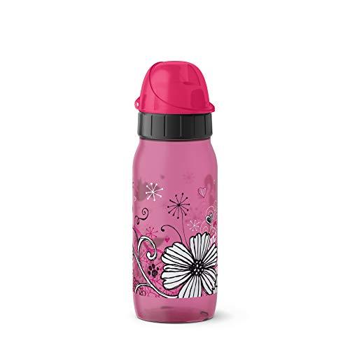 Emsa 518296 Drink2Go PP Trinkflasche (Fassungsvermögen: 0,5 Liter, Auto-Close-Kinderverschluss, Material: Polypropylen) Flowers