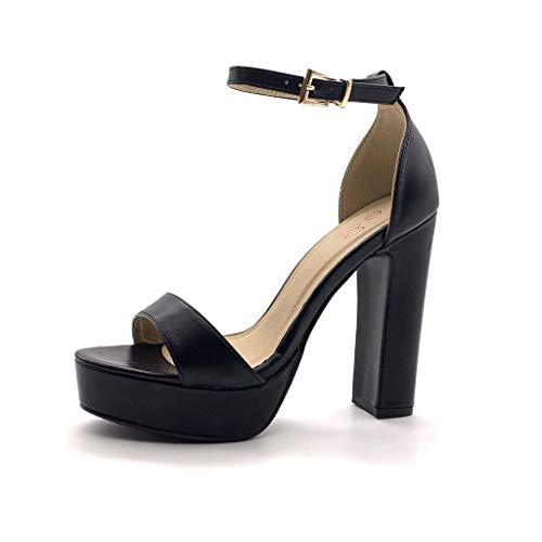 Angkorly - Damen Schuhe Pumpe Sandalen - High Heels - Plateauschuhe - Offen - Einfach Basic - Basic - String Tanga Blockabsatz high Heel 12.5 cm - Schwarz PU 059-1 T 39