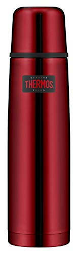 THERMOS Light & Compact Thermosflasche, Edelstahl, Rot, 1 Liter