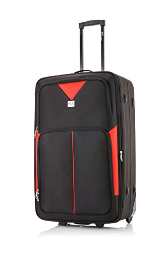 26' Medium Super Lightweight Expandable Durable Hold Luggage Suitcase Trolley Case Travel Bag with 2 Wheels & Built-in 3 Digit Combination Lock (Black/Red, 26' Medium)