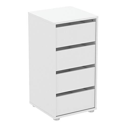 habeig Kommode BLANK weiß Flurschrank Schrank Wäscheschrank Schlafzimmer modern groß Sideboard (#743-40x40x76cm)