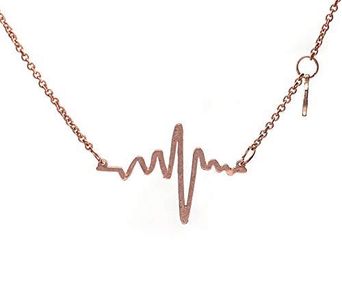 Herzschlag EKG Anhänger | hochwertige Metalllegierung | Farbe: Silber, Gold, Roségold | by Serebra Jewelry (Roségold)