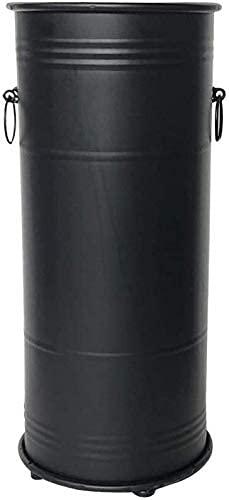 ZJYWMM Porte-Parapluie Porte-Parapluie en métal, Support Fixe pour Cannes et Chausse-Pieds Longs avec Crochet et égouttoir, Rond Noir