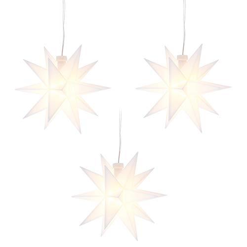 LED-Stern, batteriebetrieben, Ø12cm | Timer-Funktion: 6 Stunden AN | 18 Stunden AUS | Kabellänge: 1,5m | mit 18 Strahlen & 2 LED-Lichtern in Warmweiß | Fenster-Deko zu Weihnachten (Weiß | 3 Stück)
