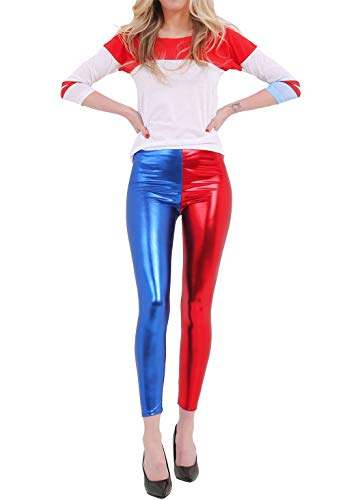 Islander Fashions Womens Luxury Red Blue Shiny Metallic Leggings Seoras Fancy Wet Look Disco Pants S / 2XL