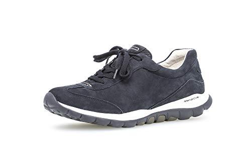 Gabor Damen Low Top Sneaker, Frauen Halbschuhe,lose Einlage,Plateausohle,Lady,Ladies,Women's,Woman,schnürschuhe,nightbl.(S.w/blau),38 EU / 5 UK