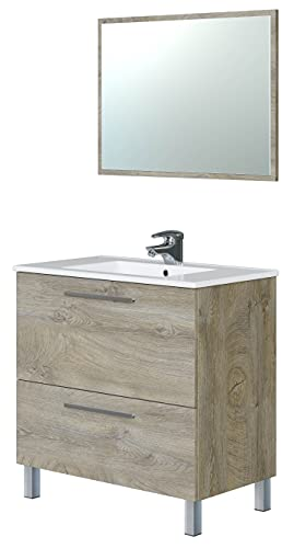 Miroytengo Mueble baño Urban + Espejo Color Roble Alaska 1 Armario 2 cajones Moderno 80x45cm Lavabo CERÁMICO Incluido