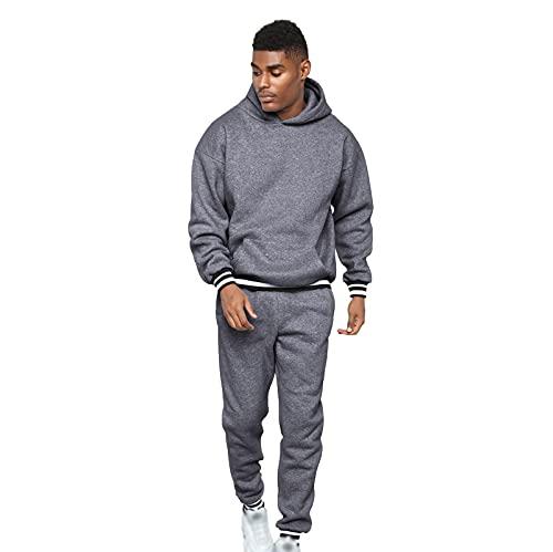 Trajes de Seguimiento para Hombres Set Solid Color Casual Sudadera con Capucha Pantalones y Pantalones Moda Tendencia para los Conjuntos de Jogging de los Hombres 2 Dark Gray-M