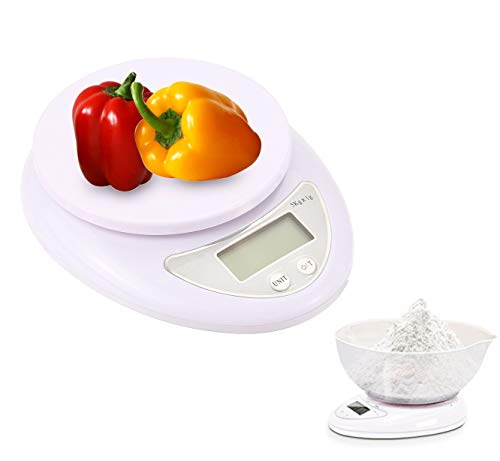 Mengshen Báscula de Cocina Digital para Alimentos Home 11lb / 5kg (1g) Báscula de gramo portátil Pesas ultradelgadas Aperitivos Alimentos líquidos para Peso y Control de nutrición