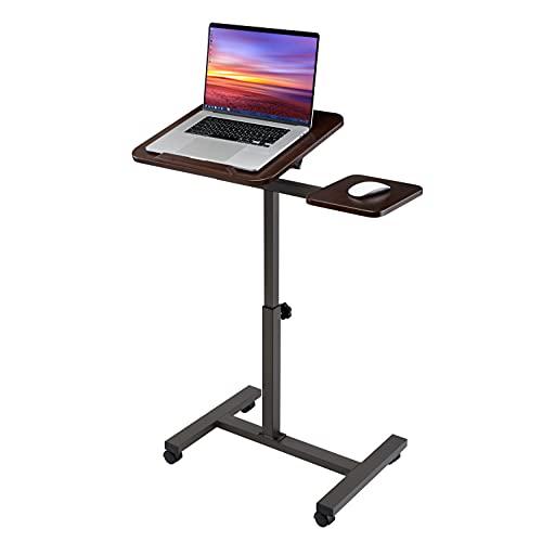 Seville Classics Solid-Top Height Adjustable Mobile Laptop Computer Desk Cart Ergonomic Home Office Stand Rolling Side Table, Tilt (28'), Walnut