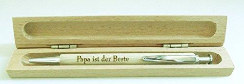 Penna a sfera di legno con incisione laser a richiesta, in astuccio di legno